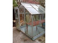 """Glass green house with potting bench. 6""""x6""""x 6"""".will help dismantle . Automatic window opening ."""