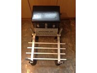Fishing seat box with footplate