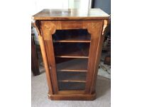 VICTORIAN WALNUT INLAID CABINET WITH GLASS DOOR OF GOOD PROPORTIONS...