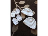 Baby girl/unisex hats and scratch mitts