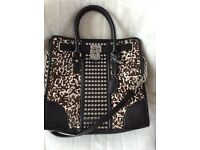 Authentic Michael Kors Hamilton Calf Hair Studded Leather Large North South- Black and white Satchel