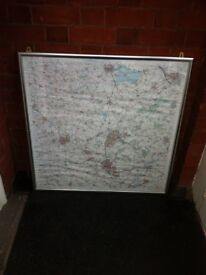 Large Print Map of Leicestershire Leicester in Silver Picture Frame