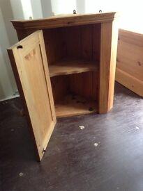 Solid pine corner wall cupboard