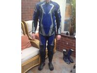 IXS Motorcycle Leathers Blue in excellent condition