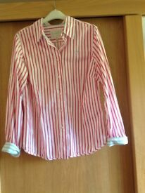 Joules ladies pink/white stripped shirt Size 14