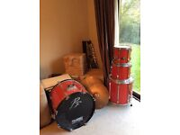 Red Pearl export drum kit Perfect for beginners for Christmas