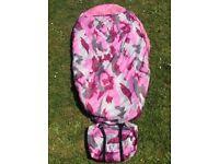 Kids gelert jnr pink camo sleeping bag/pod