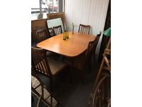 Teak extendable table and chairs
