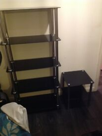 Black and silver glass shelf stand big and small