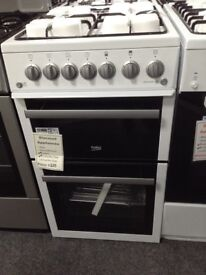 Beko 50cm white & silver gas cooker. £225 new/graded 12 month Gtee