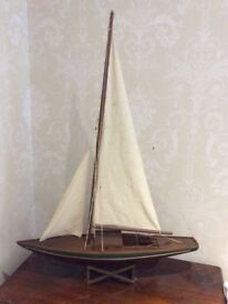 Dark wood model wooden yacht