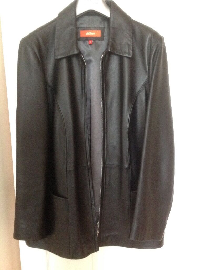 Ladies Black Leather Jacket H .Eliumin Ferndown, DorsetGumtree - Black Leather Jacket Size 16 From Collar to hem 31 ins . Its in excellent condition,worn a couple of times . Bought from Debenhams