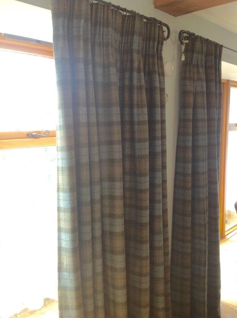 2 Pairs Of Bespoke Handmade Interlined Curtains Abraham Moon Wool Fabric
