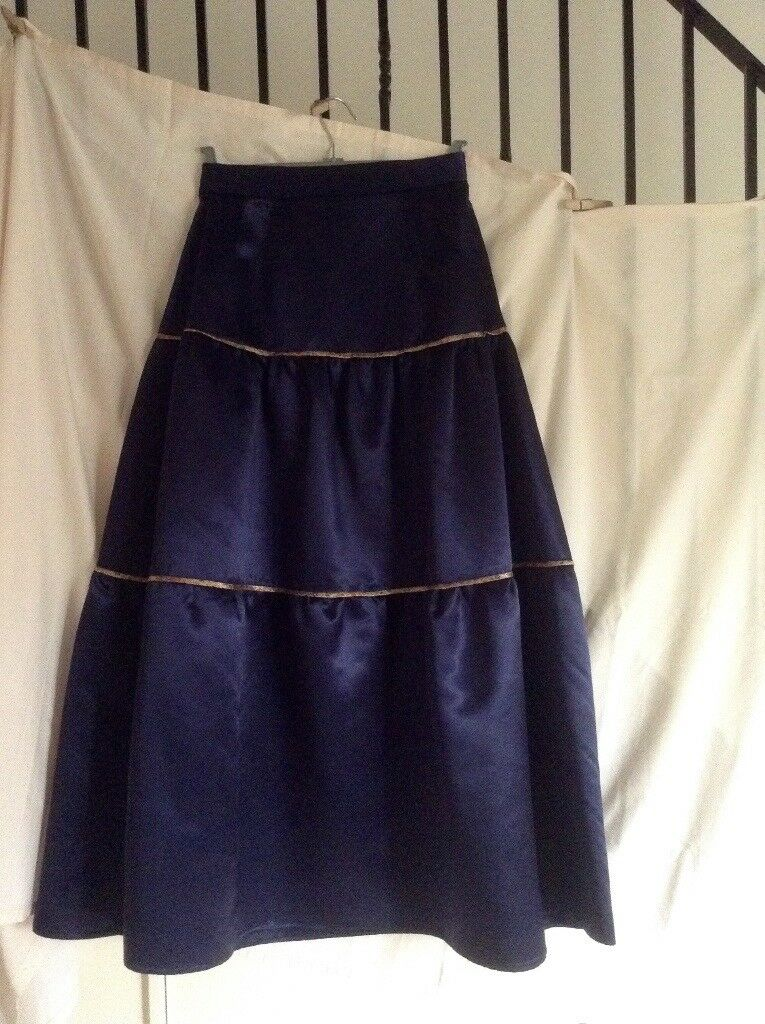 Vintage Navy Satin Evening Skirt tiered with gold silk piping. size 12.