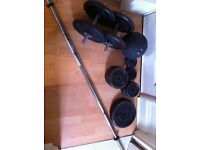 95kg weight plates, weight bench and 5kg medicine ball