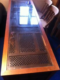 Teak Open Unit - Indian Screen with Framed Glass Top