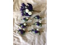 Handmade country style wedding bouquet and 6 buttonholes