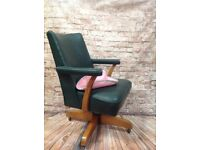 Vintage Retro Hill Crest Green Leather Chair