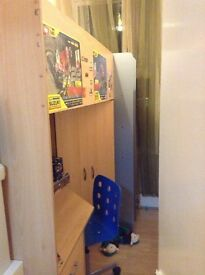 Cabin bed high sleeper with desk and wardrobe