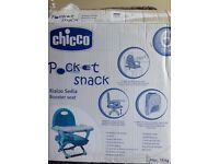 A brand new chicco booster seat -blue- just opened.Not used