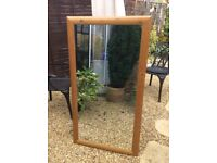 LARGE PINE WOODEN SURROUND MIRROR, GOOD CONDITION