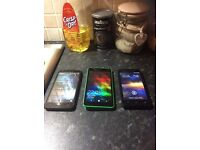 3 mobile smartphones for 120 pound ovno, all in brilliant condition and in covers and no scratches