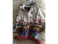 Catimini girls raincoat and matching wellies age 4 years