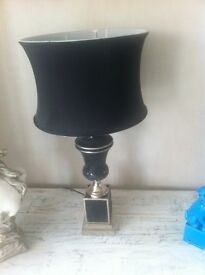 Superb Large Black Mosaic Table Lamp with black drum shade