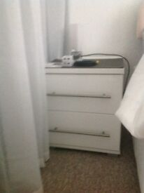 White bedside cabinet good condition 40 wide X 47 deep X 48 high