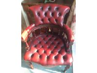 Red leather captains chair