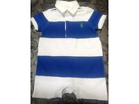 blue and white Ralph Lauren baby grow