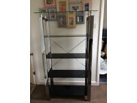 Black glass shelving unit