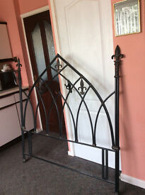 """Metal Gothic style metal headboard good condition will fit double bed 4'-6"""""""