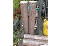 4 solid pink granite pillars
