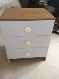 Bedside cabinet, 3 draws, In good condition.