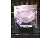 Arcoroc French Cut Glass Punch Bowl Set To Serve 8