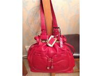 Soft Red Leather Drawstring Bag + Dustbag NEW