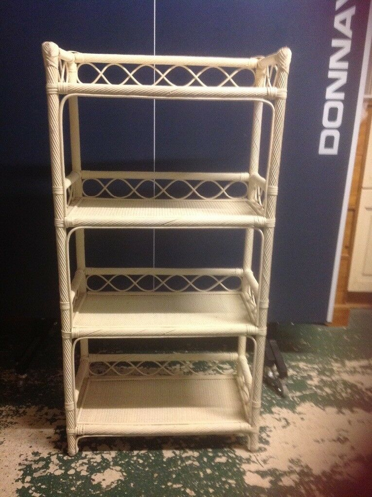 Cream Wicker Bookcase
