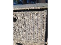 Unusual, attractive three draw small chest made of woven twine