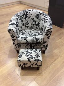 Black & Cream Chair with foot stool