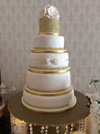 Amazing wedding package .includes 5 tier cake.Gold colour.Handmade