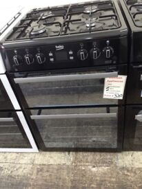 Beko 60cm black gas double oven £320 new/graded 12 month Gtee