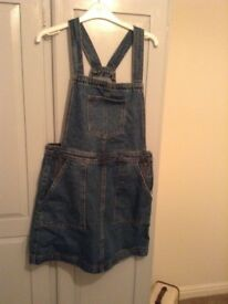 Denim dungaree style dress - size 14