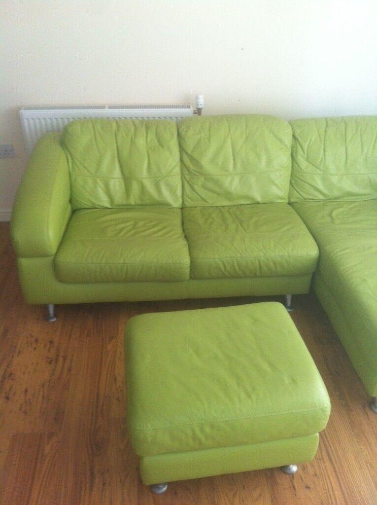 Corner Sofa in mango Green