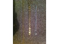 Titanium Gold plated chain and bracelet and sliver bracelet