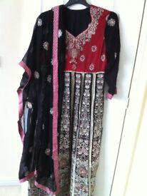 Ladies 3 piece Anarkali dress suit in black and red design. For wedding/party.