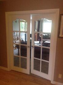 Double internal doors, 8 glass panes per door, 2 sets