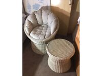 Garden Bistro Set - 2 Swivel Chairs and Circular Table with Toughened Glass