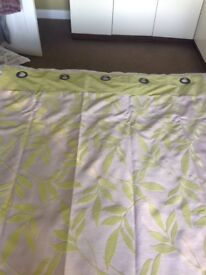 Pair of green patterned curtains