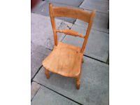 Low antique pine chair . Cottage style.